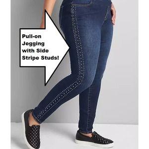 NEW Lane Bryant Pull-On Jegging Stud Side Stripe